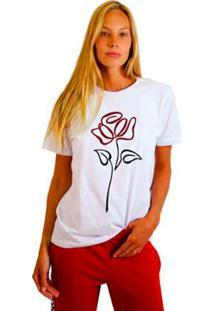 Camiseta Joss Estampada Flor Em Linha Feminina - Feminino-Branco