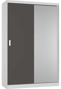Guarda-Roupa Solteiro 2 Portas Com 1 Espelho 100% Mdf 813E1 Branco/Café - Foscarini