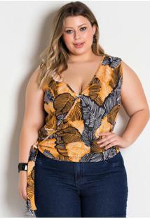 Blusa Com Amarração Folhagem Plus Size