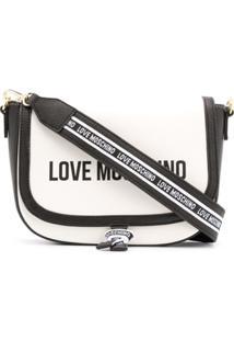 Love Moschino Bolsa Transversal Color Block Com Logo Estampado - Branco