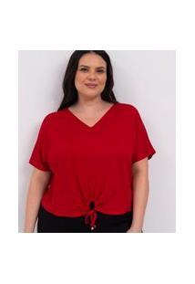 Blusa Lisa Com Amarração E Puxadinho Frontal Curve & Plus Size | Ashua Curve E Plus Size | Vermelho | G