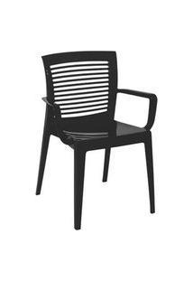 Cadeira/ Poltrona Com Braço Tramontina Victoria Encosto Vazado Preta Preto