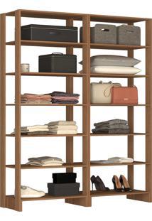 Guarda Roupa Closet 2 Peças 12 Prateleira Marrom