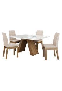 Sala De Jantar Madesa Ayla Mesa Tampo De Vidro Com 4 Cadeiras Branca/Bege