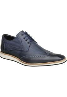 Sapato Oxford Masculino Malbork Em Couro 516 - Masculino-Azul+Marinho