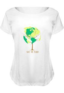 Camiseta Baby Look Nerderia Save The Planet Branco - Kanui