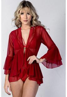 Robe Neglig㪠Curto Yasmin Lingerie Divino - Vermelho - Feminino - Dafiti
