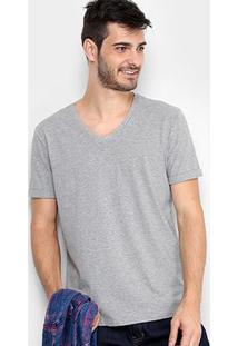 Camiseta Calvin Klein Gola V Estampa Costas Masculina - Masculino-Mescla