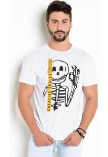 Camiseta Com Estampa Caveira E Detalhe Faixa