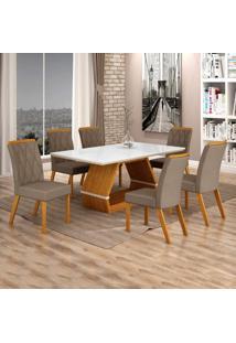 Conjunto Sala De Jantar Mesa Tampo De Vidro Branco 6 Cadeiras Esmeralda Leifer Imbuia Mel/Off White/Camurça