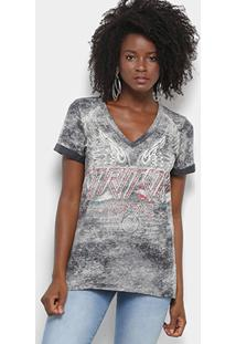 Camiseta Triton Marmorizada Feminina - Feminino-Preto+Cinza