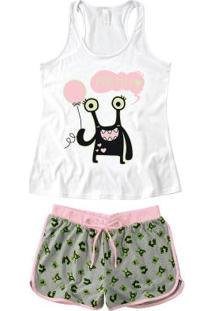 Pijama Branco Nadador Cor Neon Feminino