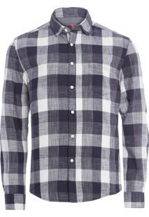 Camisa Masculina Space Dyed Checks - Azul