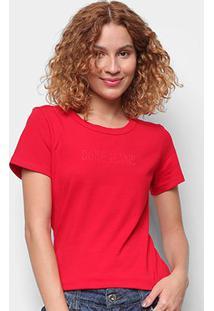 Camiseta Coca Cola Coke Jeans Básica Feminina - Feminino-Vermelho
