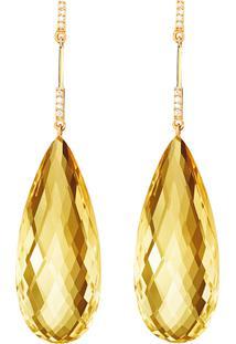 Brinco Em Ouro Amarelo 18K Com Diamante, Citrino - Energy