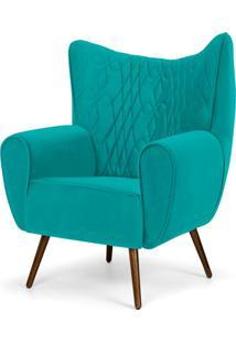 Poltrona Decorativa Para Sala De Estar Kora Pã©S Palito Tress㪠Veludo Liso Turquesa B-66 - Lyam Decor - Azul - Dafiti