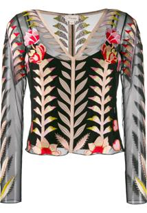 Temperley London Blusa Translúcida Com Bordado - Preto
