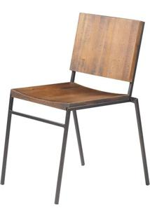 Cadeira Dix Com Assento Em Madeira Rustic Brown Base Em Aco Grafite - 56050 - Sun House