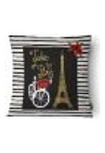 Capa Para Almofada Paris Sarja 43X43Cm Branco,Preto,Dourado