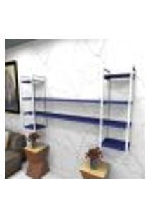 Estante Estilo Industrial Sala Aço Cor Branco 180X30X98Cm (C)X(L)X(A) Cor Mdf Azul Modelo Ind49Azsl
