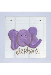 Quadro Decorativo Zoo Elefante - Roxo & Branco - 24Xkapos