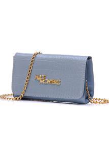 Bolsa Alice Monteiro Clutch Alça Corrente - Croco Azul