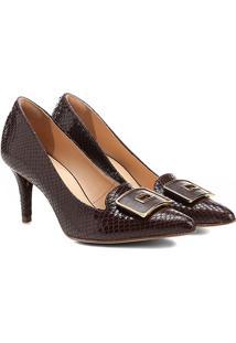 Scarpin Couro Shoestock Salto Médio Fivela Forrada - Feminino-Marrom