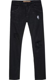 Calça John John Slim Istambul 3D Jeans Preto Masculina (Jeans Black Escuro, 44)