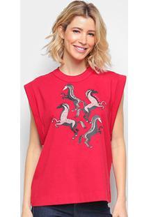 Camiseta Colcci Cavada Horses Feminina - Feminino-Vermelho
