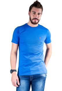 Camiseta Mister Fish Gola Careca Basic Azul Royal