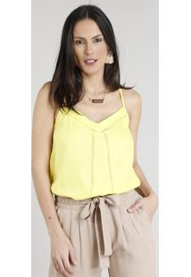 Regata Feminina Ampla Decote V Com Renda Amarelo Claro