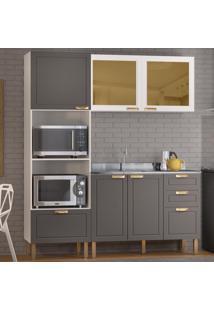 Cozinha Completa 3 Peã§As Americana Multimã³Veis 5909 Branco/Grafite - Branco/Incolor - Dafiti