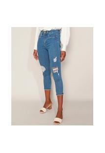 Calça Jeans Feminina Sawary Cropped Super Lipo Cintura Alta Destroyed Com Barra Dobrada Azul Médio