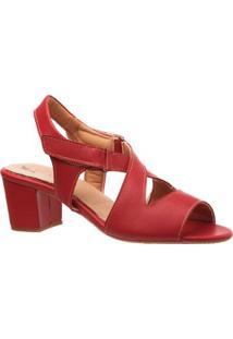 Sandália Doctor Shoes Couro Ferrari Feminina - Feminino-Vermelho