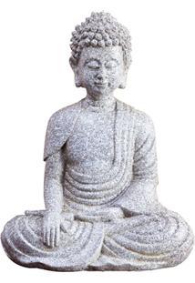 Escultura Em Resina Buda Sentado 26X20Cm Cinza