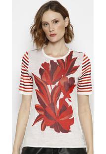 Blusa Em Tricô Com Recortes- Off White & Vermelha- Mmorena Rosa