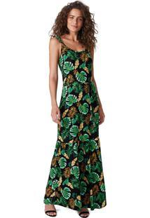 Vestido Verde Longo Estampado Conforto