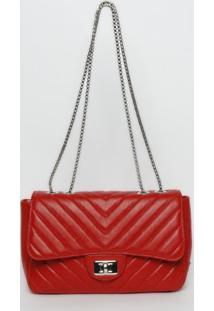 Bolsa Em Couro Com Matelassê - Vermelha - 16,4X29,2Xgriffazzi