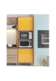Armário P/ Micro-Ondas 4 Portas Sicília Argila Laca Amarelo