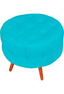 Puff Decorativo Botonê Yasmin Suede Azul Turquesa Pés Palito - D'Rossi.