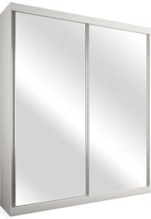 Armário 2 Portas De Correr Com Espelho, Branco, Branco,Criare Iii