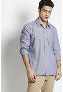 Camisa Slim Fit Listrada Com Bordado- Azul Escuro & Branvip Reserva
