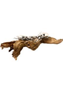 Escultura Decorativa Besouro No Tronco