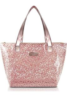 Bolsa Shopper Transparente Jacki Design Diamantes Rosa