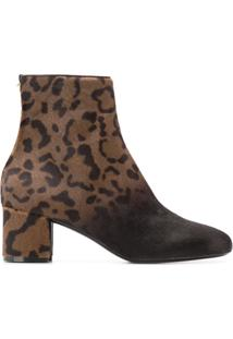 Salvatore Ferragamo Ankle Boot 'Hollow' De Couro Com Animal Print - Marrom