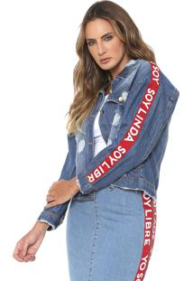 Jaqueta Jeans Lança Perfume Lettering Destroyed Azul/Vermelha