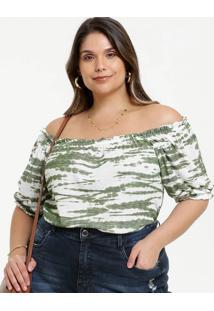 Blusa Feminina Tie Dye Ombro A Ombro Plus Size