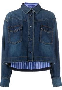 Sacai Cropped Denim Shirt Jacket - Azul