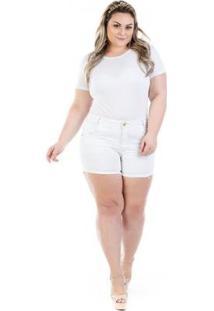 Shorts Jeans Curto Munich Color Plus Size Feminina - Feminino-Branco