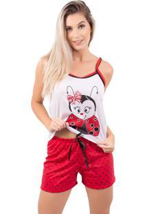 Pijama Bella Fiore Modas Short Doll Estampa De Bicho Vermelho